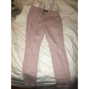 Low-Rise Distressed Light Pink Jeggings